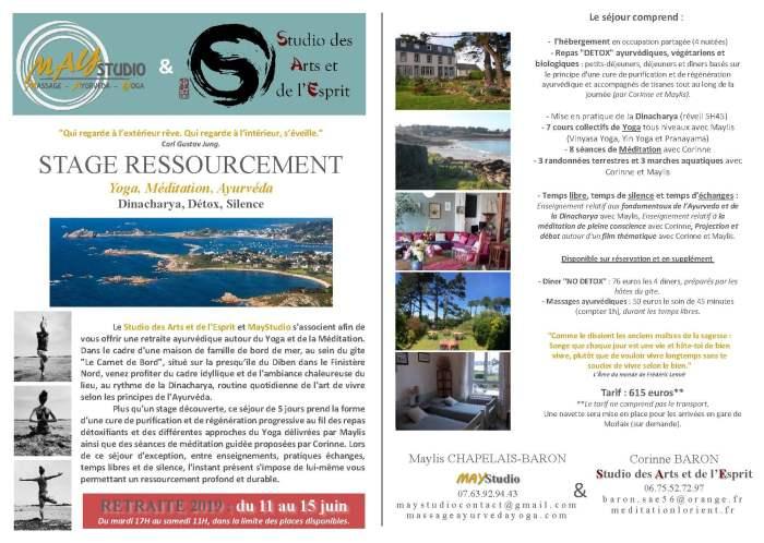 Stages 2019 Ressourcement 11 au 15 juin pour site du gite